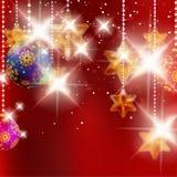 Kerstmisachtergrond met snuisterijen. Stock Afbeeldingen