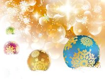 Kerstmisachtergrond met snuisterijen en copyspace. Stock Foto