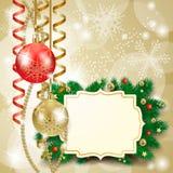 Kerstmisachtergrond met snuisterijen en etiket Royalty-vrije Stock Afbeelding