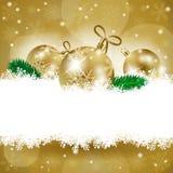Kerstmisachtergrond met snuisterijen en exemplaarruimte Royalty-vrije Stock Afbeelding