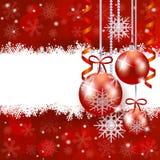 Kerstmisachtergrond met snuisterijen en exemplaarruimte Stock Fotografie