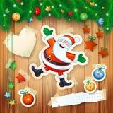 Kerstmisachtergrond met spar, decoratie en gelukkige Kerstman Royalty-vrije Stock Afbeeldingen
