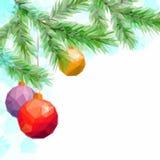Kerstmisachtergrond met Spar en Ballen Stock Foto's
