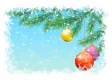 Kerstmisachtergrond met Spar en Ballen Royalty-vrije Stock Foto's