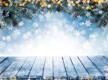 Kerstmisachtergrond met sparrentakken en lege wijnoogst wo Royalty-vrije Stock Afbeelding