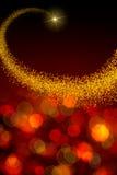 Kerstmisachtergrond met ster en abstracte bokehlichten Royalty-vrije Stock Foto's