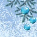 Kerstmisachtergrond met takken en ballen Stock Foto