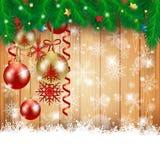 Kerstmisachtergrond met van het Kerstmisballen en exemplaar ruimte Stock Afbeelding