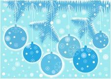Kerstmisachtergrond met verfraaide boom royalty-vrije illustratie