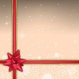 Kerstmisachtergrond met vonken en rode boog Royalty-vrije Stock Afbeelding