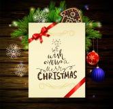 Kerstmisachtergrond op hout Stock Afbeeldingen