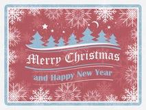 Kerstmisachtergrond in retro stijl met sneeuwvlokken, bos en overladen elementen Gelukkige nieuwe jaarkaart Stock Fotografie