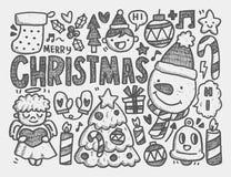 Kerstmisachtergrond van de krabbel Stock Foto's