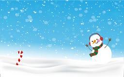 Kerstmisachtergrond van de sneeuwmens vector illustratie