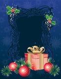 Kerstmisachtergrond van de winter met giftdoos Royalty-vrije Stock Fotografie