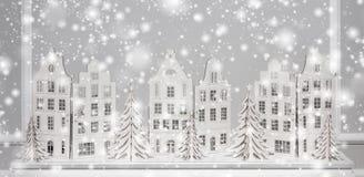 Kerstmisachtergrond van document decoratie Kerstmis en Gelukkige Nieuwjaarsamenstelling royalty-vrije stock afbeeldingen