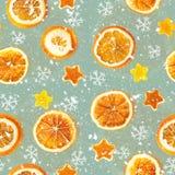 Kerstmisachtergrond van droge sinaasappelen, schil in de vorm van een ster Naadloze Achtergrond royalty-vrije stock foto's