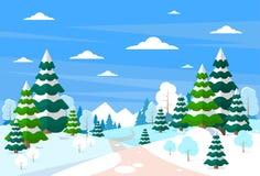 Kerstmisachtergrond van het de winter boslandschap, pijnboom royalty-vrije illustratie