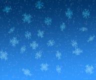 Kerstmisachtergrond van sterren en van sneeuwvlokken Stock Foto's