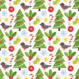 Kerstmisachtergrond, vector naadloos patroon Royalty-vrije Stock Afbeeldingen