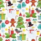 Kerstmisachtergrond, vector naadloos patroon Stock Afbeeldingen