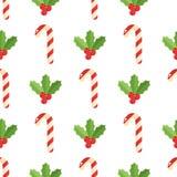 Kerstmisachtergrond, vector naadloos patroon met Kerstmiselementen Stock Foto