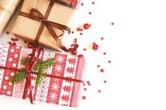 Kerstmisachtergrond voor het vakantieseizoen met giftdozen royalty-vrije stock afbeelding