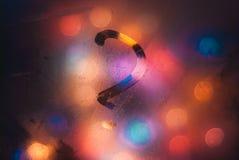 Kerstmisachtergrond, vraagteken op het zwetende glas van de bus, Royalty-vrije Stock Fotografie