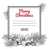 Kerstmisaffiche met hand getrokken slinger Spartakken, denneappels, hulstbessen met bladeren en poinsettia Groot voor groet c Stock Afbeelding