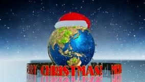Kerstmisanimatie met Aarde stock videobeelden