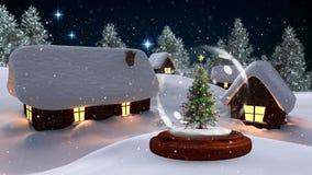 Kerstmisanimatie van verlichte hutten en Kerstboom in magisch bos bij nacht stock footage