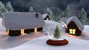 Kerstmisanimatie van verlichte hutten en Kerstboom in magisch bos bij nacht stock video