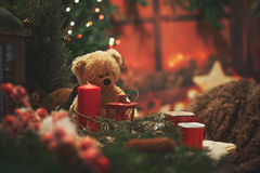Kerstmisatmosfeer bij het huis Stock Foto's