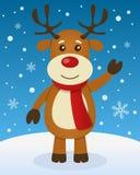 Kerstmisatmosfeer met Leuk Rendier royalty-vrije illustratie
