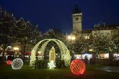 Kerstmisatmosfeer in Praag, Tsjechische Republiek Royalty-vrije Stock Foto