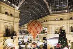 Kerstmisatmosfeer van decoratielichten van het rode vierkant Stock Foto