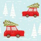 Kerstmisauto met sparren naadloos patroon Nieuwe jaarlevering stock foto