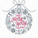 Kerstmisbal die uit de lijnstijl en teken van Kerstmispictogrammen bestaan Stock Foto's