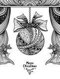 Kerstmisbal met boog en gordijnen in zen-Verwarring stijlzwarte op wit stock illustratie