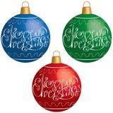 Kerstmisbal met het elegante van letters voorzien Royalty-vrije Stock Afbeeldingen