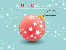Kerstmisbal op een kleurenachtergrond Gelukkig Nieuwjaar Stock Afbeeldingen
