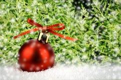 Kerstmisbal op Sneeuw met Kerstboom Stock Afbeeldingen