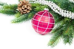 Kerstmisballen, denneappels en groene tak  Stock Afbeeldingen
