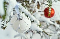 Kerstmisballen die op nette takken hangen Royalty-vrije Stock Foto's