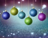Kerstmisballen met exemplaarruimte Stock Afbeelding