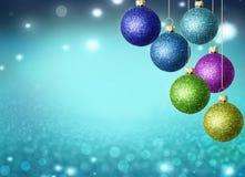 Kerstmisballen met exemplaarruimte Stock Fotografie