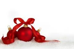 3 Kerstmisballen met lint Royalty-vrije Stock Fotografie