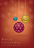 Kerstmisballen met rode achtergrond Stock Illustratie