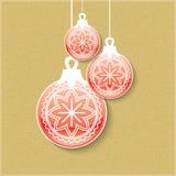 Kerstmisballen met schaduw Minimale Kerstmis abstracte achtergrond Stock Foto