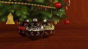 Kerstmisballen onder Kerstboom stock illustratie